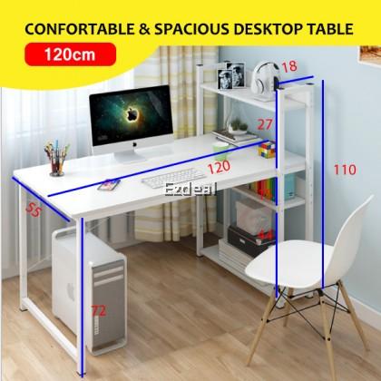 Modern Computer Desktop Desk Study Table with 4 Tier Book Shelf