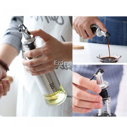 300ml Olive Vinegar Oil Dispenser Sauce Bottle Kitchen Container Stainless Steel Jar