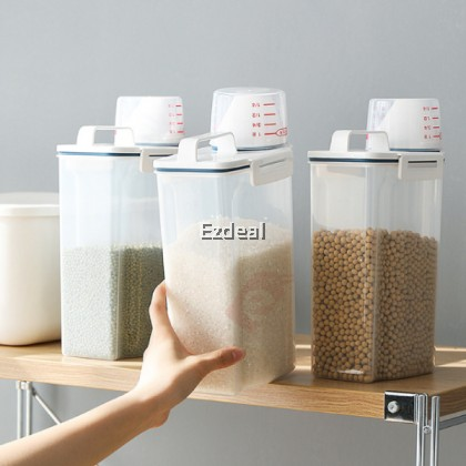 2.5L Food Containers Storage Boxes Cereal Grain Bean Rice Transparent Plastic Storage Kitchen Container Boxes