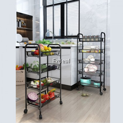 Large Capacity Carbon Steel Kitchen 5 Tier Shelf Trolley Rack with Wheels