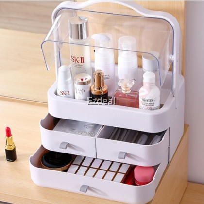Large Size Transparent Portable Cosmetic Box Dustproof Makeup Storage Drawer with Holder