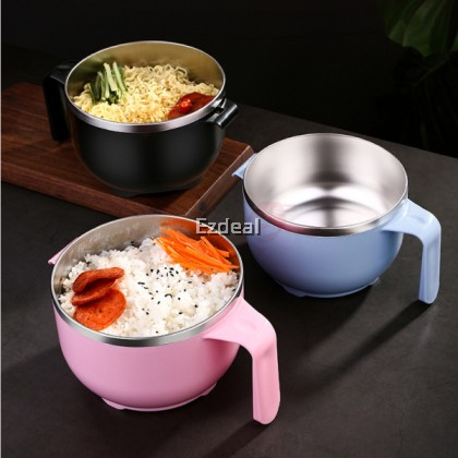 304 Stainless Steel 1200ML Large Capacity Instant Noodle Bowls with Lid and Handle