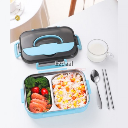 School Children's 1.2L Lunch Box 304 Stainless Steel Two Compartment Lunch Box with Bag