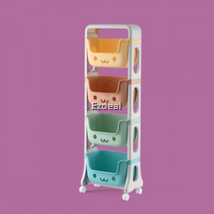 Children's Plastic Multi-Layers Toy Storage Rack with Caster Wheels