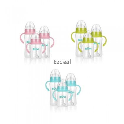 SUVI 180/240/300ML Feeding Baby Bottle PP Wide Bore Anti-Colic Vent Handle Milk Bottle