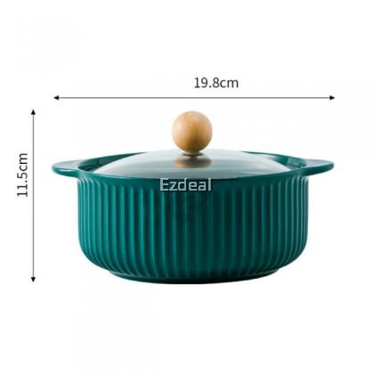 Nordic Ceramic Soup Bowls With Glass Lid Handles Dessert Noodle Pot